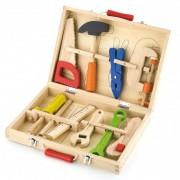 Vaikiškas medinis įrankių rinkinys lagamine VIGA