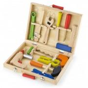Vaikiškas medinis įrankių rinkinys su atsuktuvu lagamine VIGA
