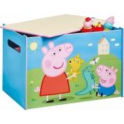 Medinė žaislų dėžė - suoliukas Peppa