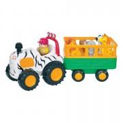 Mažojo fermerio traktorius su gyvūnais priekaboje ir garsais
