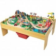 KIDKRAFT medinis žaidimų miestas su sulankstomu stalu