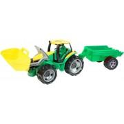 Traktorius su priekaba ir kaušu 90 cm.