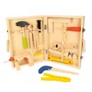 BIGJIGS vaikiškas medinis įrankių rinkinys lagamine