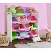 Didelė žaislų lentyna su daiktadėžėmis Pastel