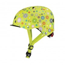 GLOBBER šalmas Elite Lights Lime Green-Flower (48-53)