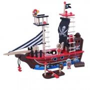 Medinis piratų laivas su priedais