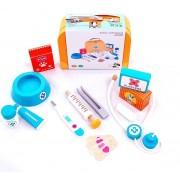 Gydytojo - veterinaro įrankių rinkinys vaikams iš medienos lagaminėlyje
