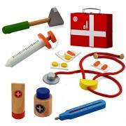 Mediniai medicinos įrankiai mažajam daktarui lagaminėlyje