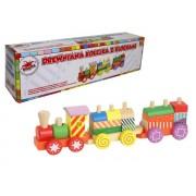 Medinis traukinukas su kaladėlėmis