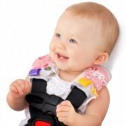 Automobilinės kėdutės ar maitinimo kėdutės dirželių paminkštinimai iš pliušo