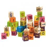 WOODY medinės kaladėlės su raidelėmis ir skaičiais